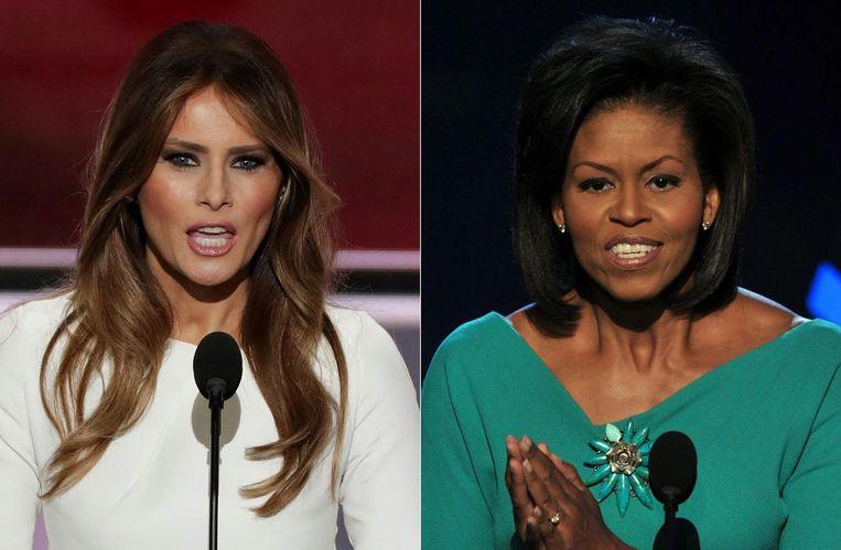 Melania Trump vorige week en Michelle Obama acht jaar geleden. Beeld afp