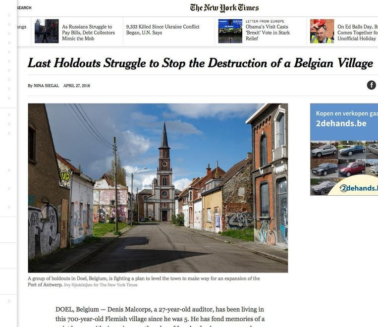 Het artikel over Doel op de website van de New York Times.