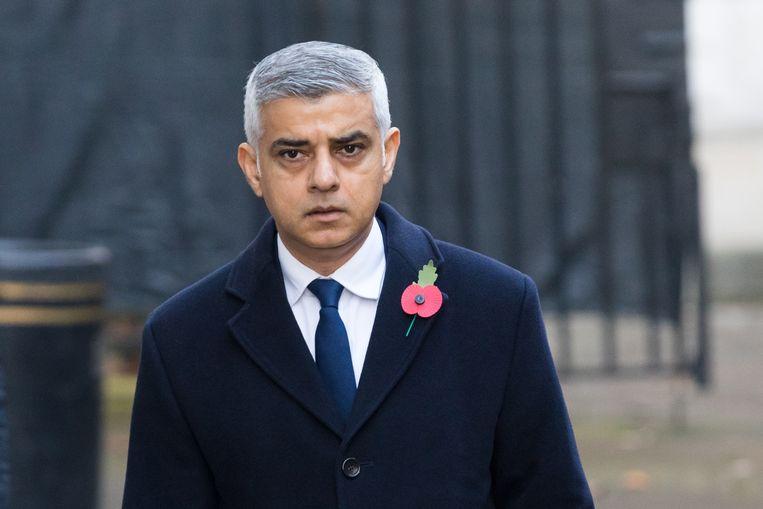De Londense burgemeester Sadiq Khan tijdens Remembrance Day in november. Beeld Hollandse Hoogte / European Press Agency (EPA)