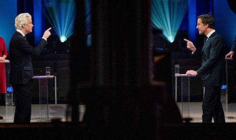 Geert Wilders (PVV) en Mark Rutte (VVD) maakten elkaar over en weer verwijten in het verkiezingsdebat van EenVandaag. Beeld Bart Maat/ANP
