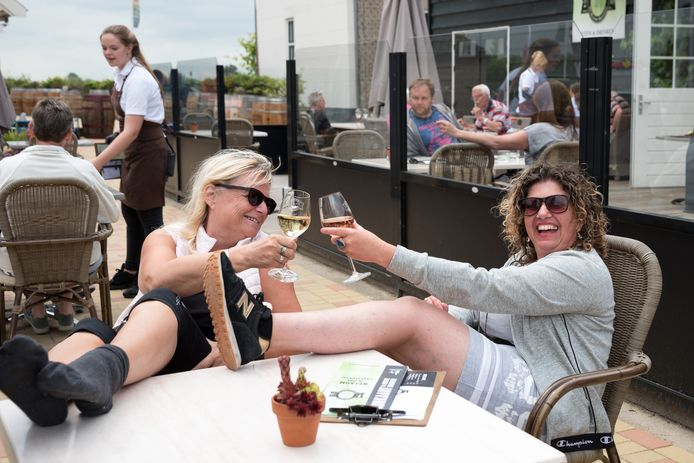 Marjan Meijer (r) en Nita Breeuwer op hun tussenstop bij de wijnboerderij in Dreischor.