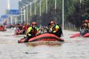 Beeld van 22 juli. Evacuaties in Zhengzhou.