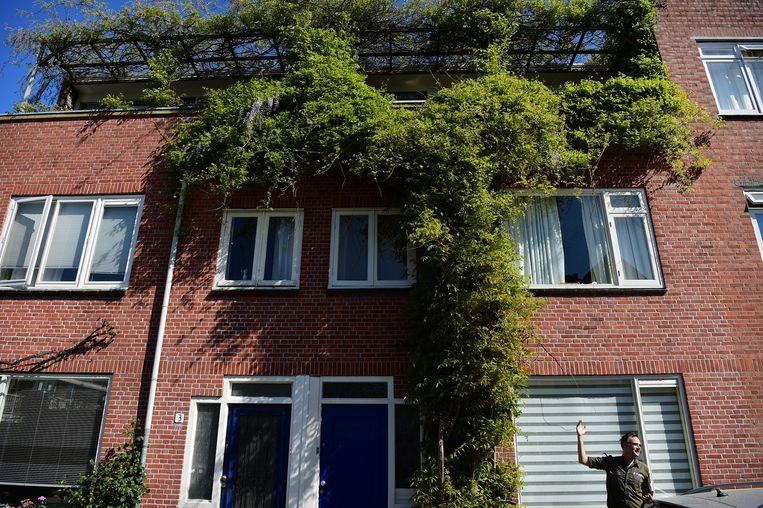 Boswachter Tim van den Broek heeft bewondering voor begroeiing aan een Utrechtse woning. Beeld Marcel van den Bergh