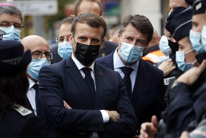 Emmanuel Macron à la basilique Notre-Dame de Nice ce 29 octobre.