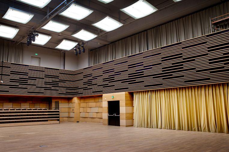 Repetitieruimte van het Residentie Orkest. Op het balkon is plaats voor 200 toeschouwers. Beeld Pauline Niks
