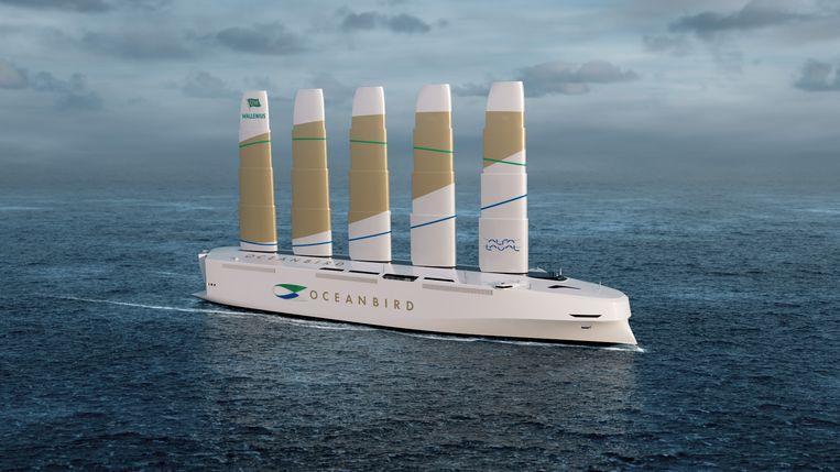 Dit innovatieve vrachtschip met inklapbare zeilen van staal en composiet van het Zweedse Wallenius Marine staat op het punt de markt te bereiken. Beeld Oceanbird