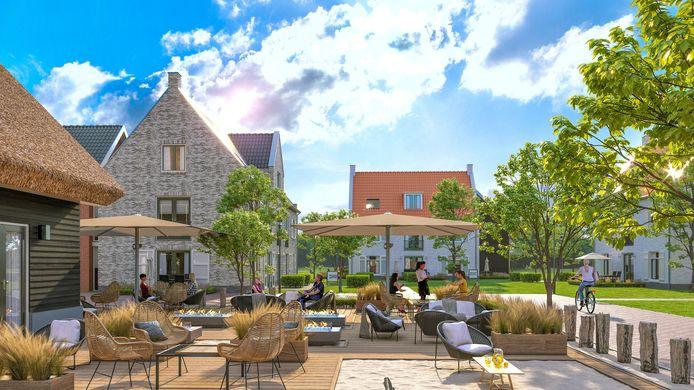 Een artist impression van het het nog te bouwen hotel-resort Zoutelande bij Biggekerke.