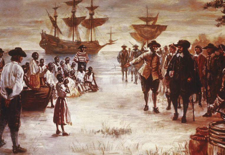 De aankomst van een Nederlands schip met Afrikaanse totslaafgemaakten voor de verkoop, Jamestown, Virginia, 1619. (Hulton Archive/Getty Images) Beeld Getty Images