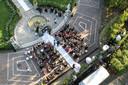 Luchtfoto van de plechtigheid.