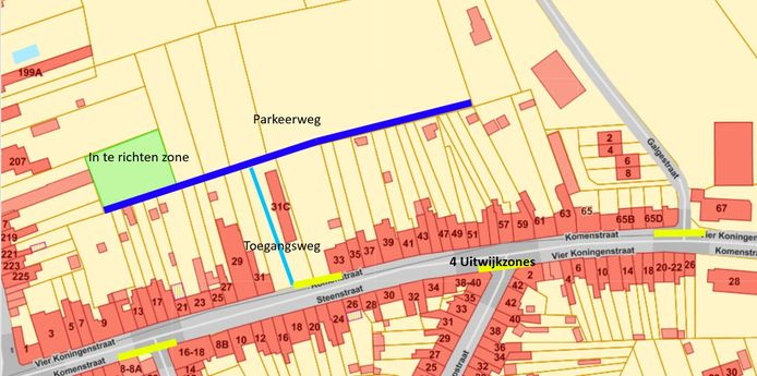 Het voorstel van Heuvelland: een parkeerweg langs de achterzijde van de woningen.