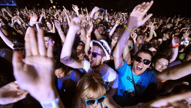 Het publiek op het Exitfestival in Novi Sad. Beeld afp