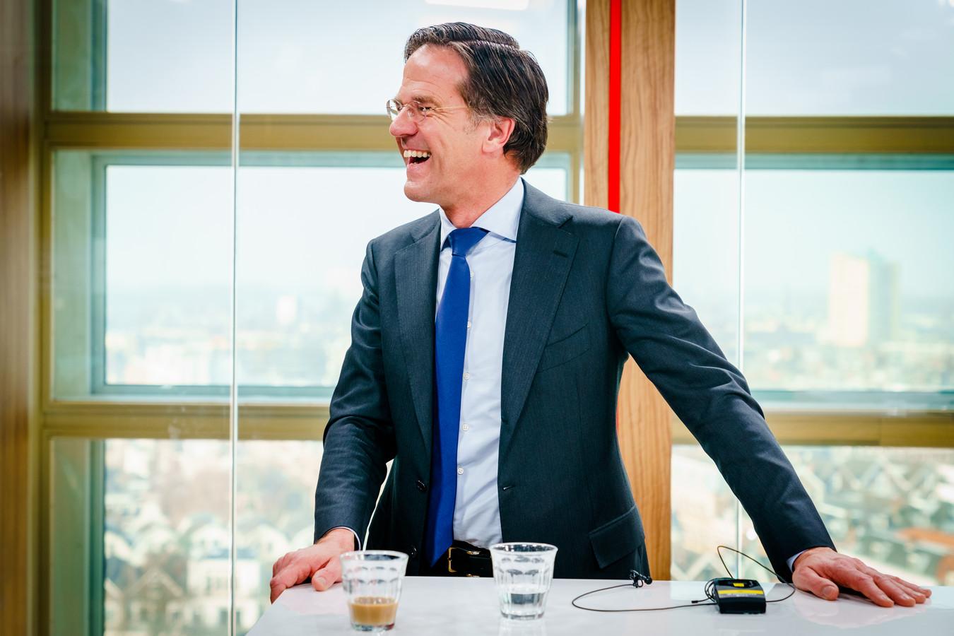 Mark Rutte van de VVD tijdens zijn optreden in de studio bij het AD.
