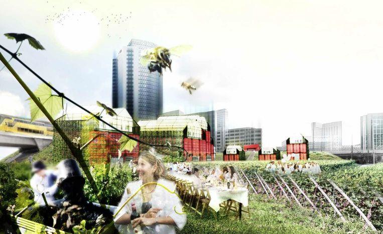 Een sfeerimpressie van hoe de Tuin van Bret er moet gaan uitzien, met op de achtergrond de hoogbouw van Sloterdijk. Beeld Artist impression