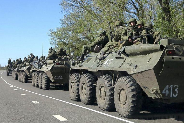 Russische soldaten bij de stad Belgorod, nabij de grens met Oekraïne. Beeld REUTERS