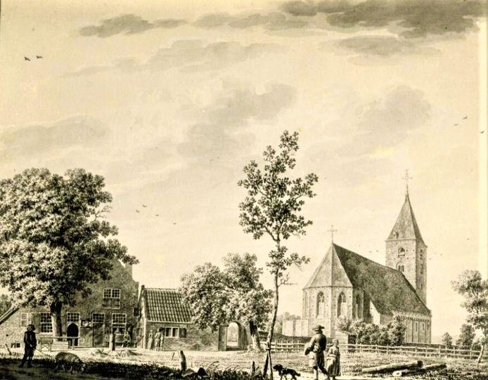 De kerk in Oud-Leusden, voor de sloop getekend door Jordanus Hoorn in  1784.
