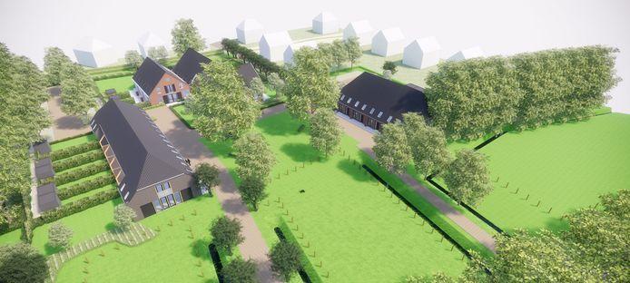 Artist impression van het Project Rijzenburg aan de Rijksweg-Noord in Elst.