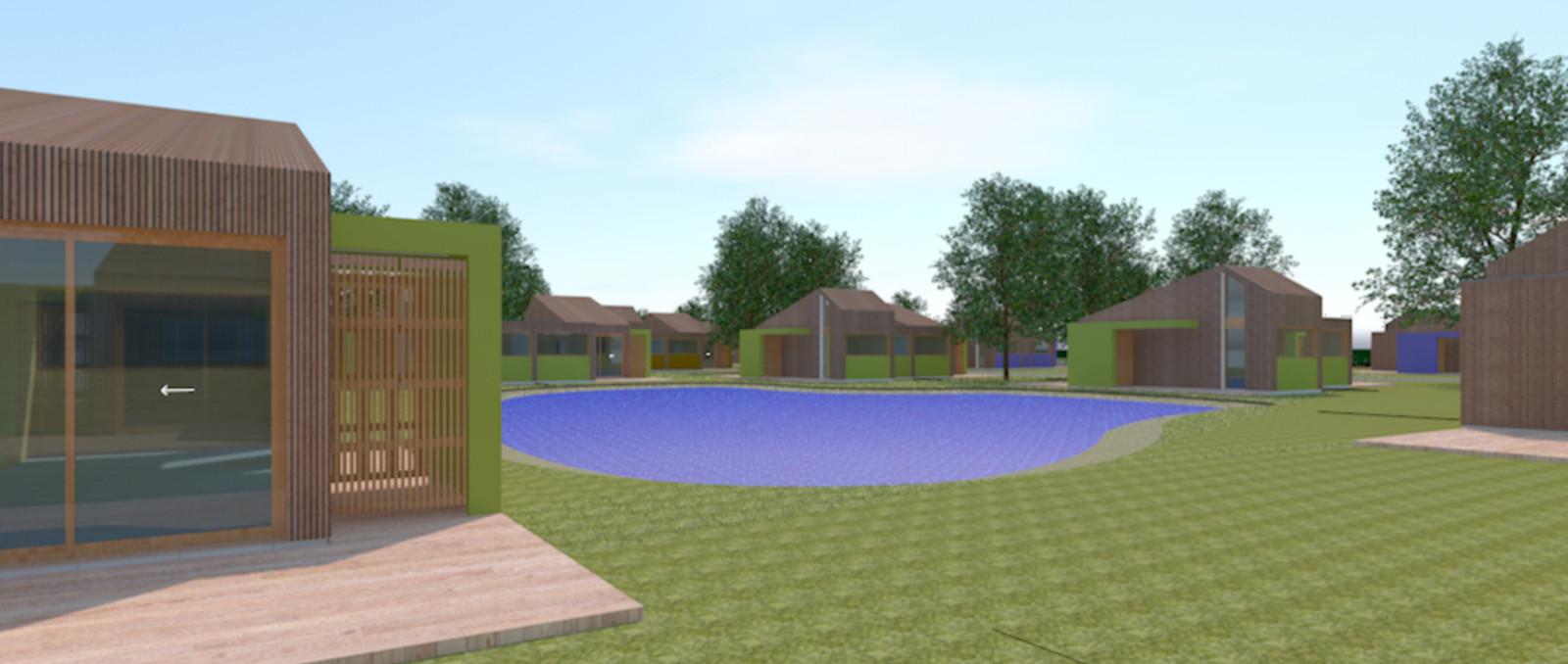 Een simulatie van het vakantiepark aan de Lunterbergstraat