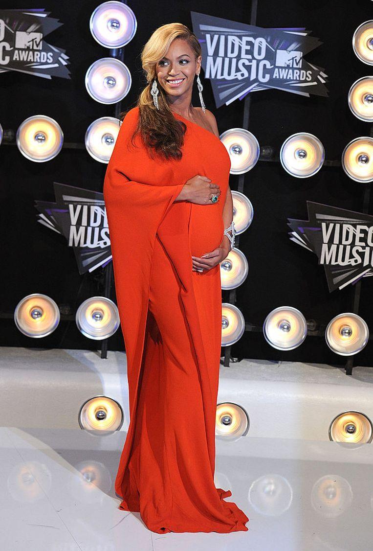 Beyoncé in een Lanvin-ontwerp van de hand van Alber Elbaz. Beeld Getty