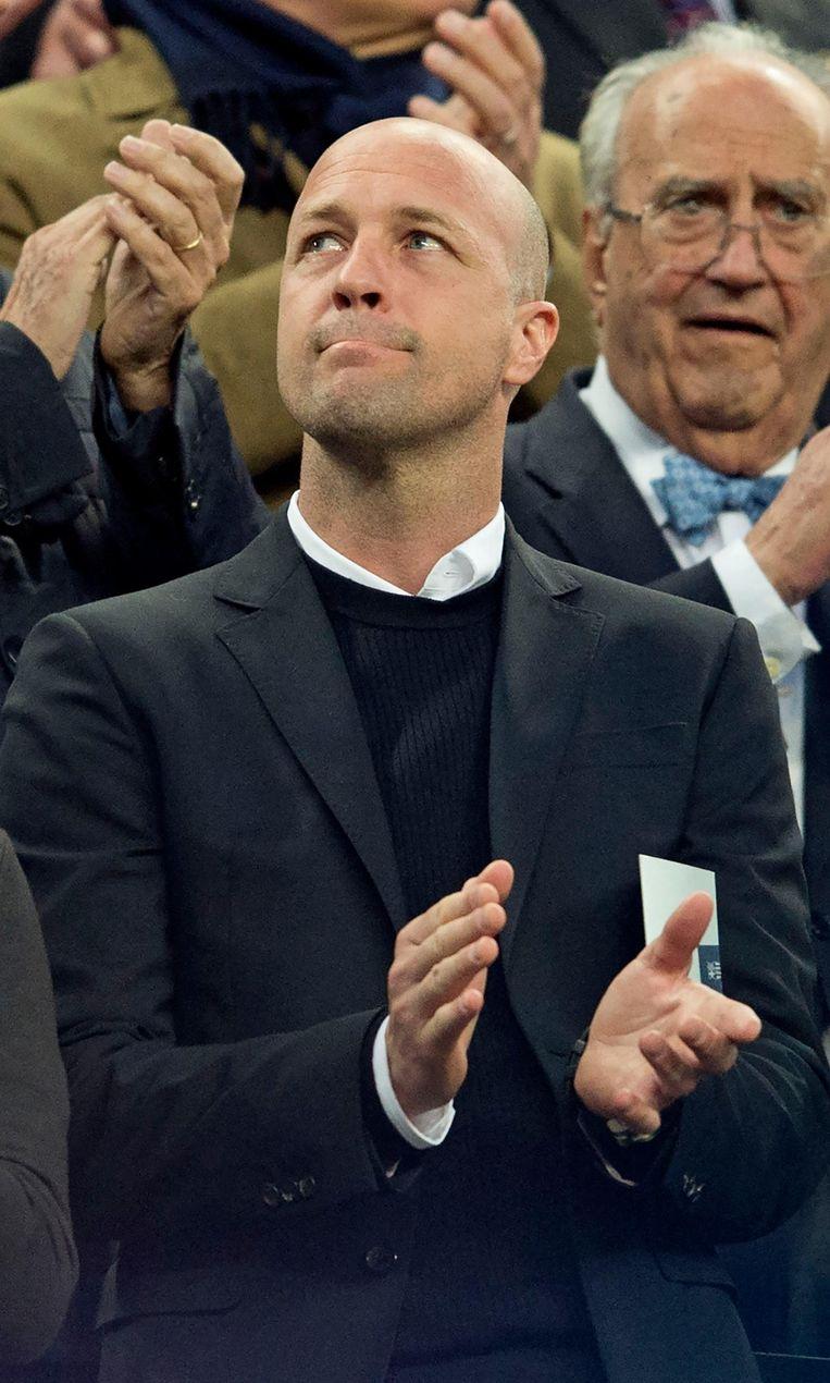 Jordi Cruijff bij het eerbetoon aan zijn vader in Camp Nou, Barcelona Beeld ANP