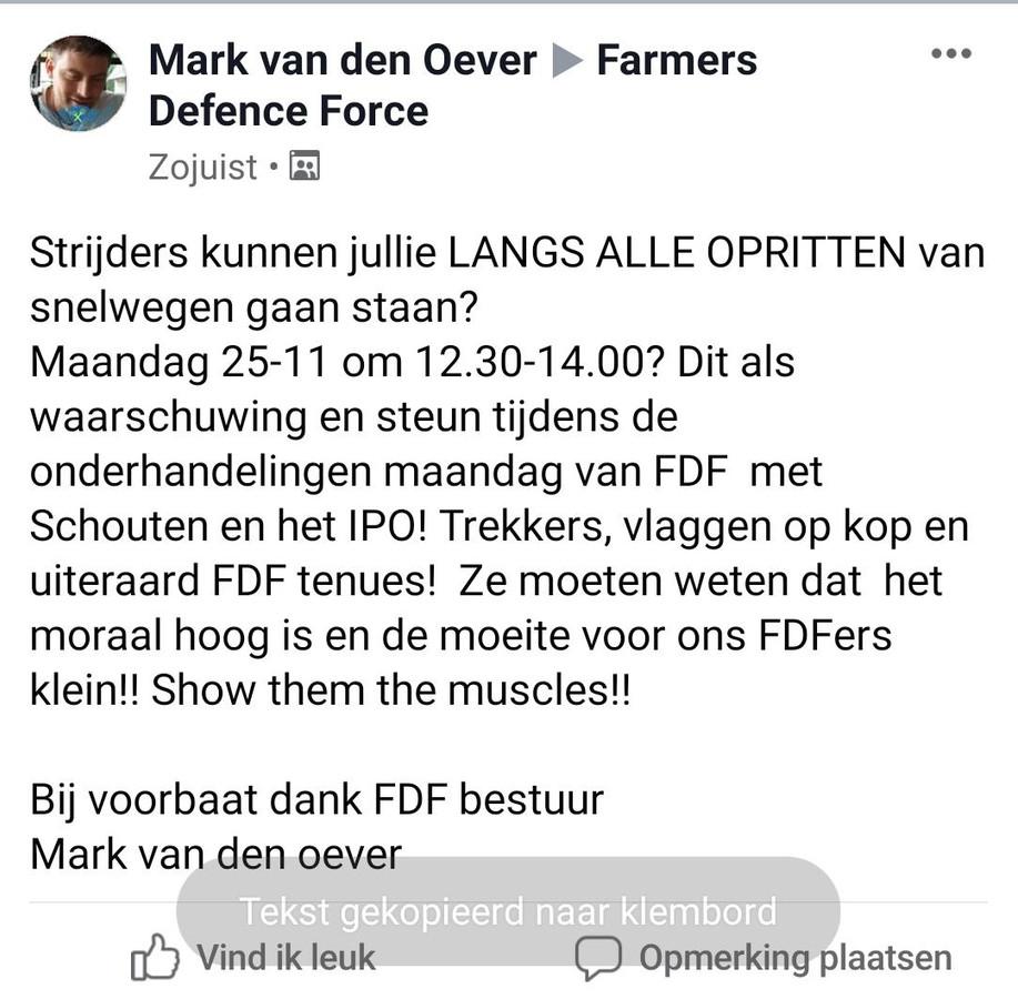 De oproep van Farmers Defence Force.
