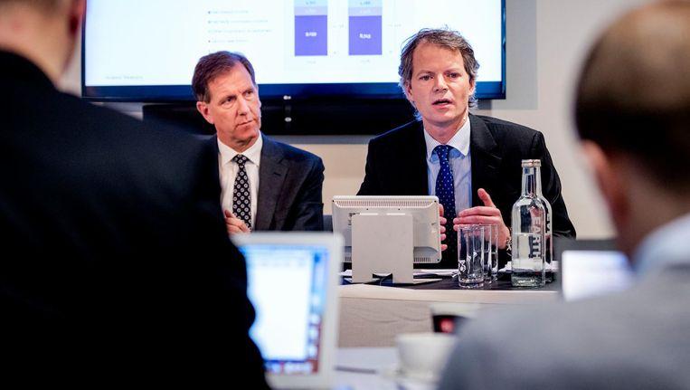 Bas Brouwers (R, CFO) en Wiebe Draijer (CEO) van de Rabobank. Beeld anp