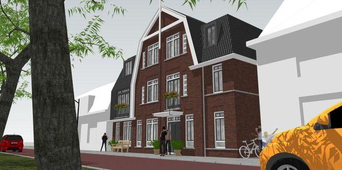 Zo wil Gerrit ten Hove het appartementengebouw aan de Haarstraat gestalte geven, met een gevel in jaren 30-stijl. Meerderheid politiek zit het plan wel zitten, maar B en W van Rijssen-Holten niet.