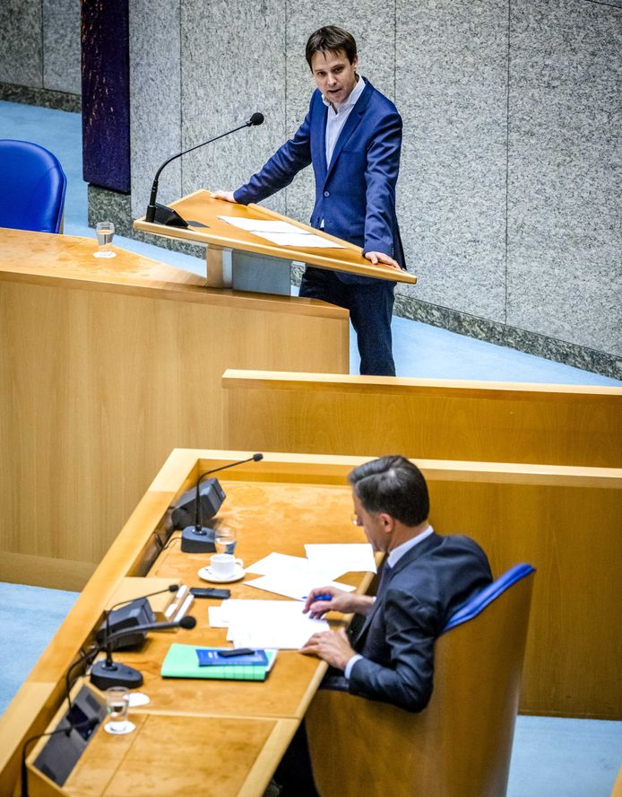 Joost Sneller (D66) tijdens een debat in oktober over de begroting van Algemene Zaken en de begroting van de koning.