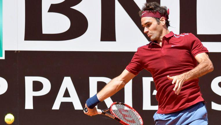 Roger Federer tijdens een toernooi in Rome. Beeld photo_news