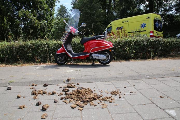 De bestuurder van de scooter gleed uit over paardenpoep op het fietspad