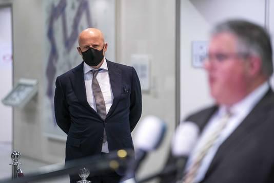 Minister Ferd Grapperhaus na afloop van het Veiligheidsberaad van burgemeesters van de 25 veiligheidsregio's. Zij hebben de avondklok ook besproken.