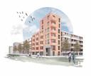 Op bepaalde hoeken van bestaande appartementencomplexen ligt ruimte voor uitbreiding, denkt KAW. Zoals deze toren tussen twee flats.
