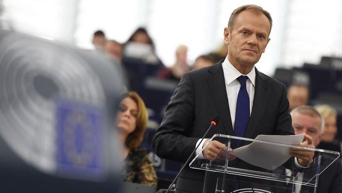 Donald Tusk au Parlement européen à Strasbourg, le 16 janvier 2018.