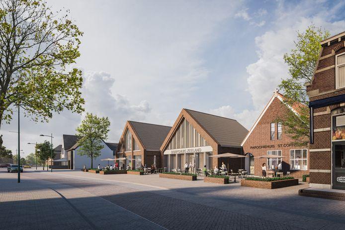Het nieuwe aanzicht van de Kerkstraat in Zeeland. Het parochiehuis (rechts) gaat op in het nieuwe dorpshuis annex bieb en sportzaal.