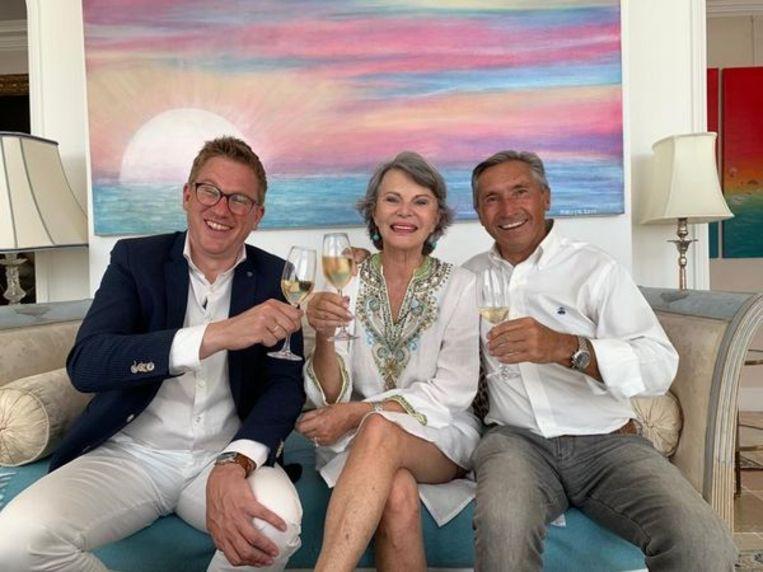 Jaïr Ferwerda voor Hai Society in Monaco, met (rechts) ondernemer Jan Holleman. Beeld