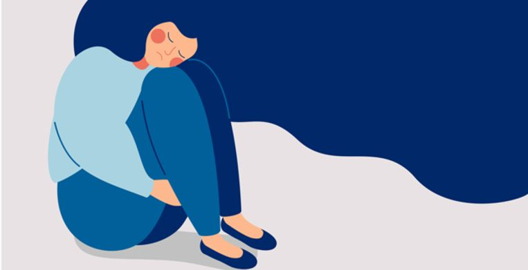 Sad lonely Woman in depression with flying hair. Young unhappy girl sitting and hugging her knees. Depressed teenager. Colorful vector illustration in flat cartoon style Beeld Getty Images/iStockphoto