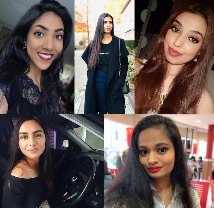 Vijf vrouwen die meededen aan de Miss India Holland verkiezing zijn niet komen opdagen bij de finale omdat ze zich niet veilig voelen bij de organisatie. vlnr: Vanita Hanoeman, Sahana Mahendran, Sjahiena Ramhoe, Farzana Adhmadli, Faraisa Sewpersad.
