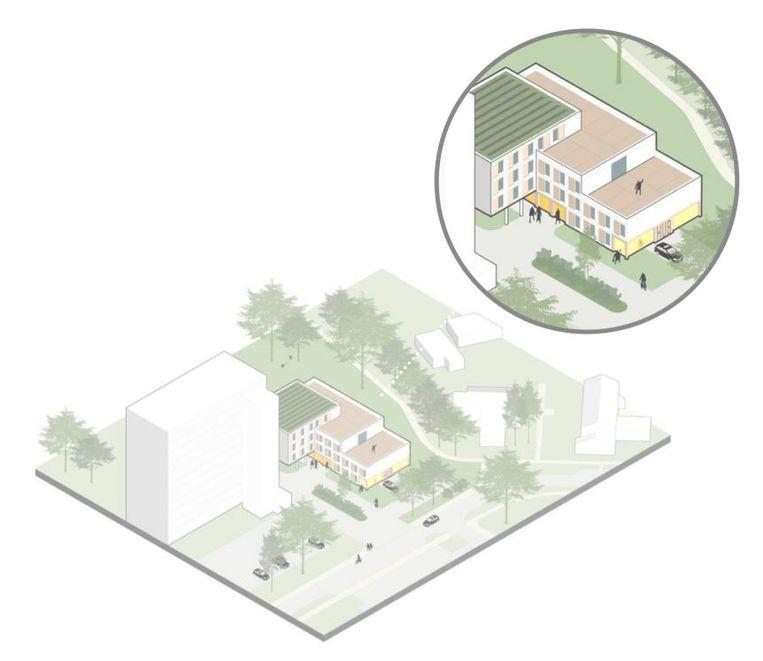 Garageboxen omgebouwd tot woningen voor jongeren. Beeld Studie Powerhouses