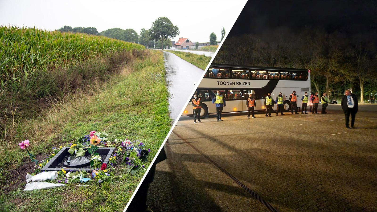 Links de plek waar Lieke om het leven kwam. Op de foto rechts: spelers van De Graafschap komen in Doetinchem aan.