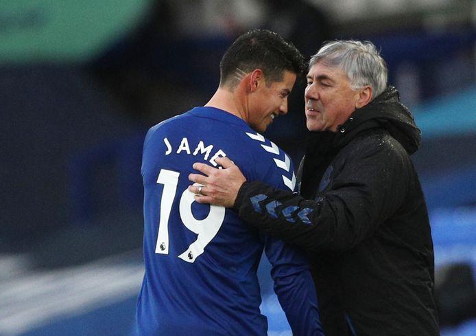 James Rodríguez en Carlo Ancelotti.