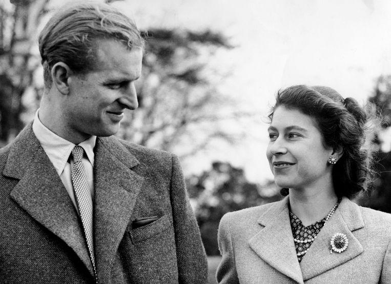 Elizabeth en Philip tijdens hun huwelijksreis.  Beeld Brunopress