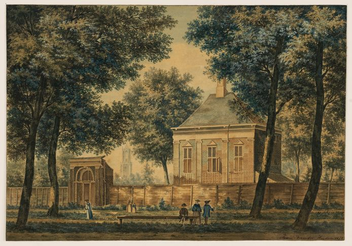 'Het huis van Descartes' aan de Maliebaan, met de Domtoren op de achtergrond. Aquarel van Pieter Jan van Liender uit 1757.