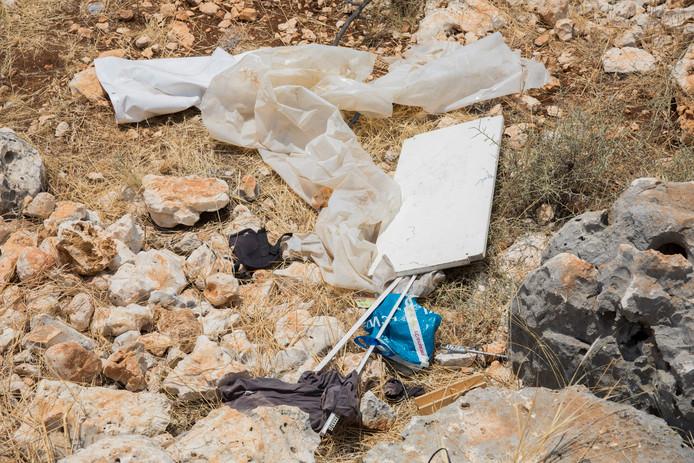 Spullen op de plek in Narlikuyu nabij Silifke.