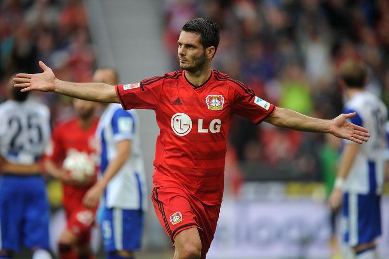 Emir Spahic in het shirt van Leverkusen.