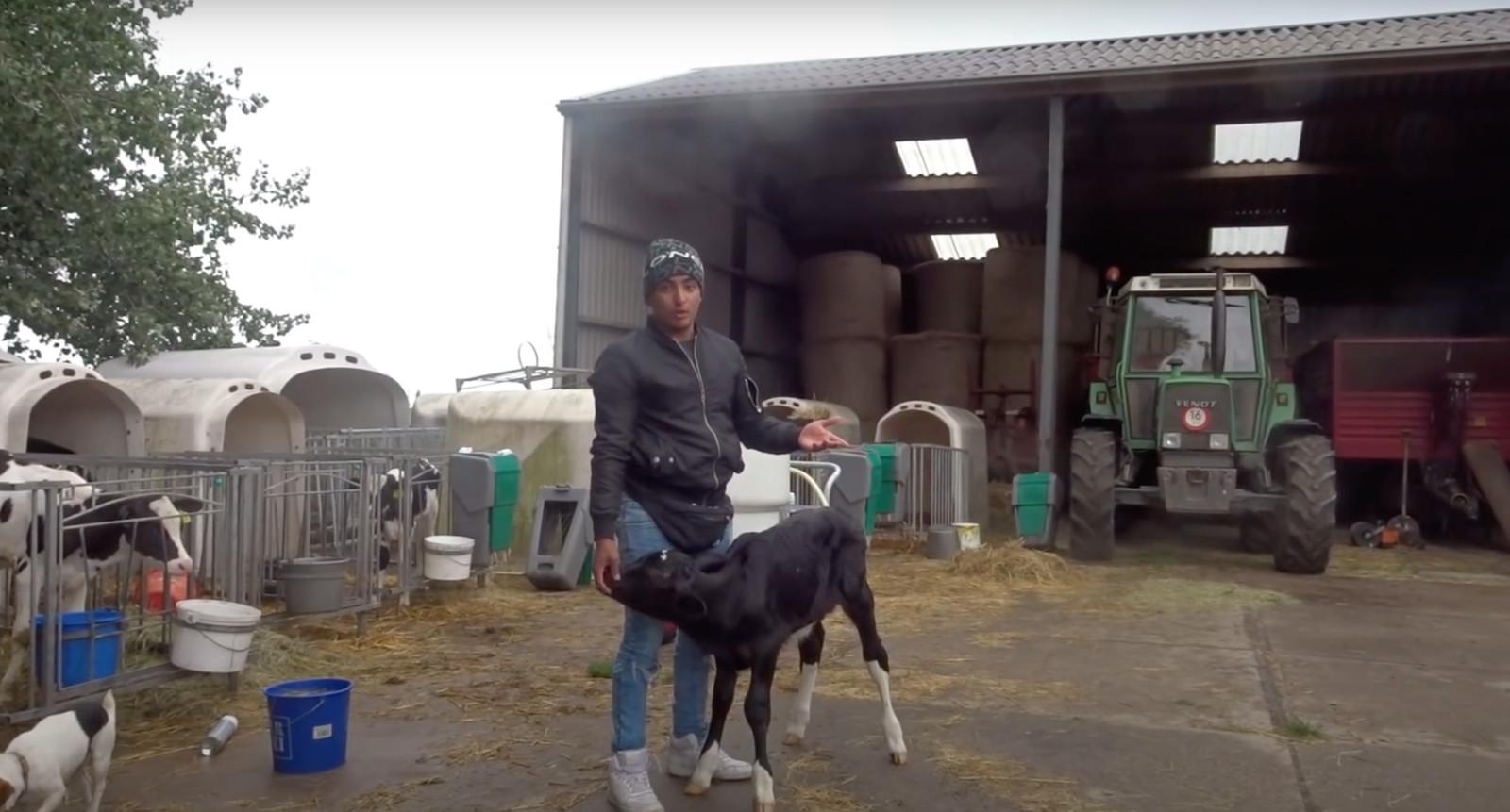 Ayoub op de boerderij.