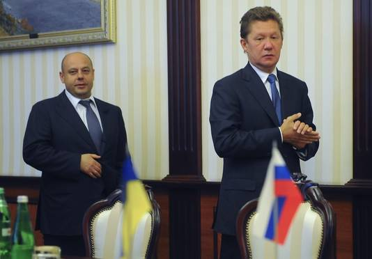Youri Prodan, ministre ukrainien de l'Energie, et Alexeï Miller, PDG russe de Gazprom
