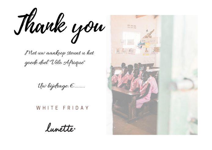 Optiek Lunette herdoopt Black Friday tot White Friday en steunt zo Vélo Afrique.