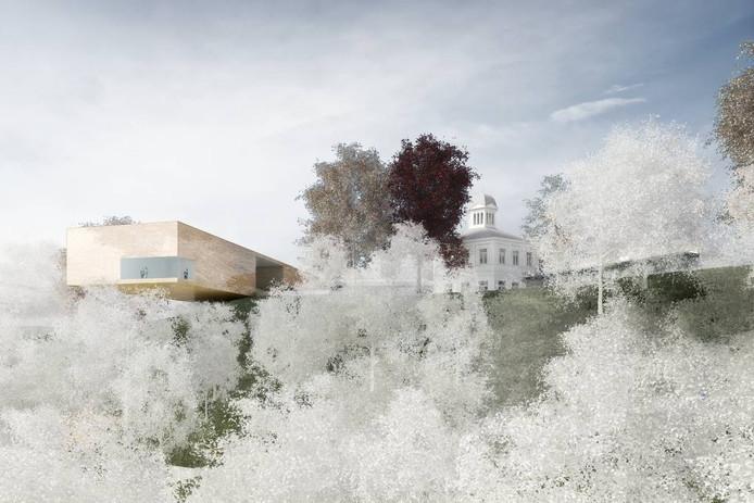 Benthem Crouwel Architekten maken een nieuwe vleugel die uitsteekt over de stuwwal en zo een herkenningspunt voor het museum vormt. De koepel wordt het centrale punt.