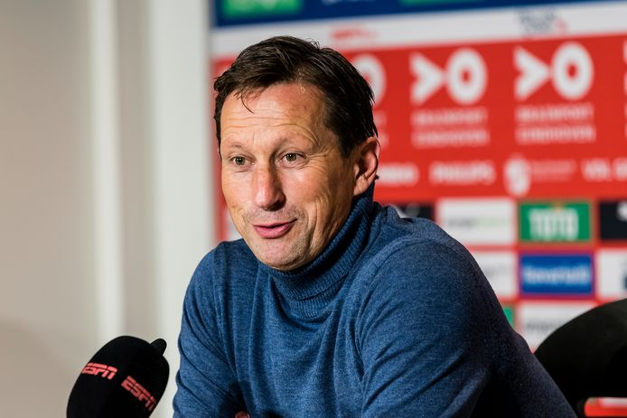 Roger Schmidt was content dat PSV alsnog won van Sparta: 2-1.