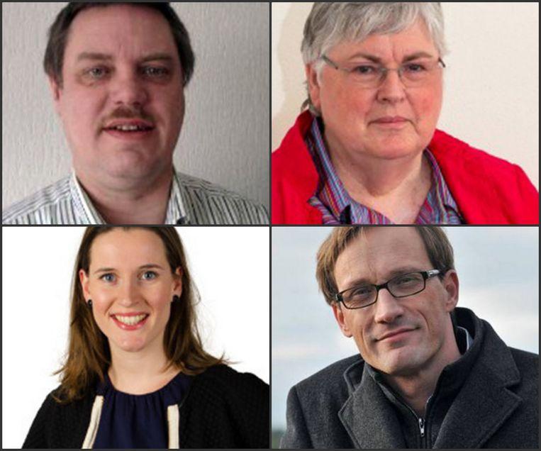 Met de klok mee: Jan, Joke, Alwin en Amelie, kandidaten voor de provincie Noord-Holland. Ze worden in de app alleen bij voornaam genoemd. Beeld Stemtinder