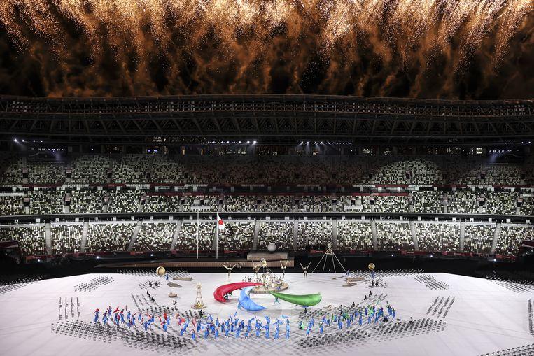 De openingsceremonie van de Paralympische Spelen in augustus, voor een leeg stadion.  Beeld Brunopress